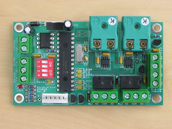 A picture of the XM2010 Thermocouple Module PCB