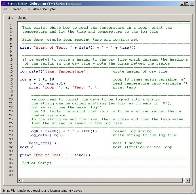 A picture of the XSkryptor Script Language screen