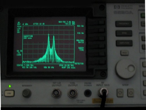 A picture of a Spectrum Analyser Screen